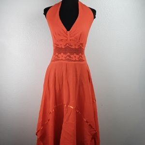 Orange sz M asymmetric hem halter dress